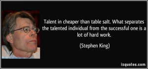 Talent in cheaper than table salt. What separates the talented ...