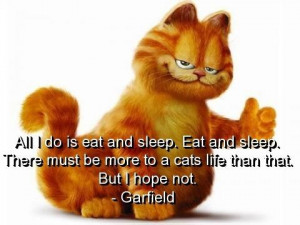 Garfield, quotes, sayings, eat, sleep, cat, life, pictures
