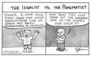 The stereotypical view of an idealist and a realist.