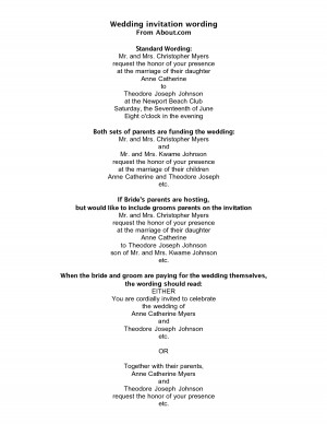 wording for a wedding invitation by jongordo