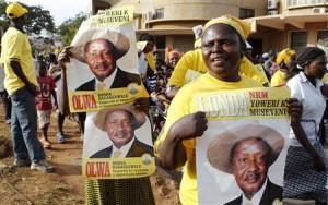 Supporters of Uganda's President Yoweri Museveni celebrate his victory ...