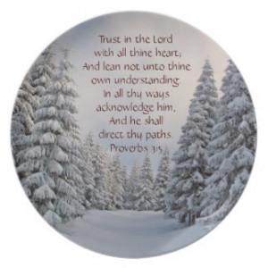 Trust in the Lord Bible Verse Winter Scene Plate
