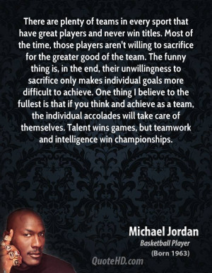 players aren't willing to sacrifice for the greater good of the team ...