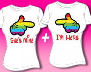 She's Mine I'm Hers Cartoon Hands Shirts - Lesbian Couples Shirts ...