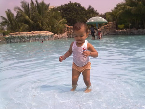 Cute And Beautiful Baby Girl Picture In Water Park