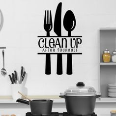 Clean Up After Yourself With Cutlery Wall Stickers Kitchen Art Decal ...