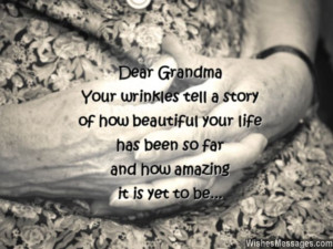 Sweet birthday quote for grandma about old age and wrinkles
