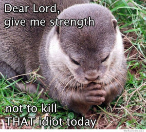 Dear Lord, give me strength – not to kill that idiot today