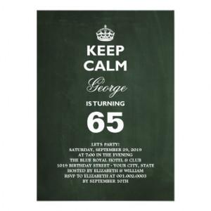 Chalkboard Keep Calm Funny 65th Birthday Party Custom Announcements