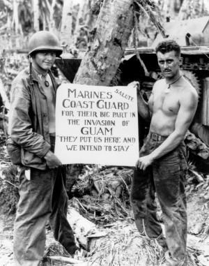 Marines Thank Coast Guard, Guam, 1944