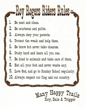 roy rogers riders rules poster