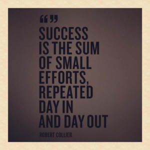 Success Is The Sum Of Small Efforts, Repeated Day In And Day Out""