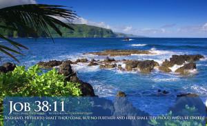 ... Verses Job 38-11 Beautiful Ocean View With Scripture HD Wallpaper