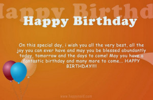 Happy Birthday On This Special Day I Wish You All The Very Best ...