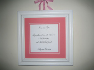 Framed quote personalized for Nana and Papa