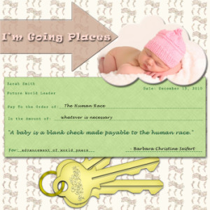 blank check baby scrapbook quote