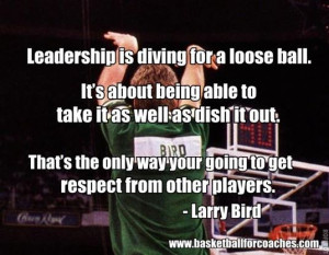 "... way your going to get respect from other players"" – Larry Bird"