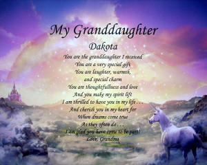 Details about MY GRANDDAUGHTER PERSONALIZED POEM BIRTHDAY OR CHRISTMAS ...