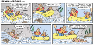 Two bears, Benny and Boone, go whitewater rafting