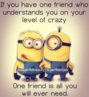 of crazy one friend is all you will ever need # minions # friends ...