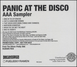 Panic At The Disco, AAA Sampler, USA, Promo, Deleted, CD single (CD5 ...