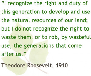 ... use, the generations that come after us - Theodore Roosevelt, 1910