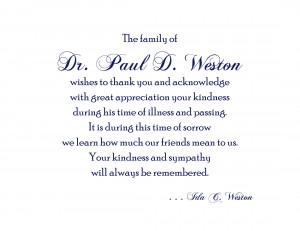 Thank You & Memorial Cards