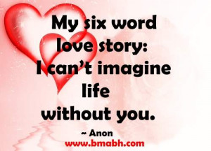 cute love quotes for her by Anon-My six word love story-I can't ...