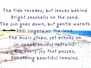 The tide recedes, but leaves behind bright seashells on the sand