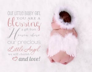 ... are a blessing a gift from Heaven above, little angel quote overlay