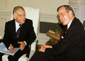 Yitzhak Shamir & George Bush at the White House, Nov. 15, 1989