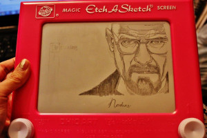 My friend drew Walter White from Breaking Bad on her Etch-A-Sketch