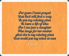 Mother's Day Poem - For Mothers of Missing Loved Ones
