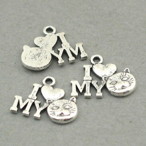 Love My Cat Sign Quote Charms Antique Silver 8pcs base metal beads ...