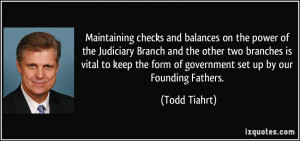 Maintaining checks and balances on the power of the Judiciary Branch ...
