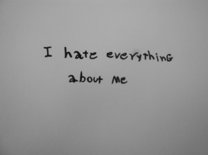 black and white, depression, fat, quote, self hate, self-harm, text