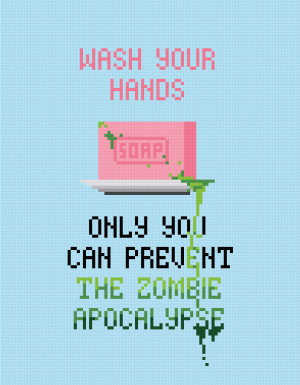 Wash Your Hands Quote - Cross Stitch PDF Pattern Download