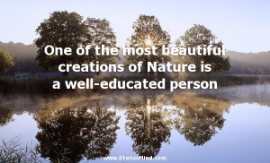 ... Nature is a well-educated person - Epictetus Quotes - StatusMind.com
