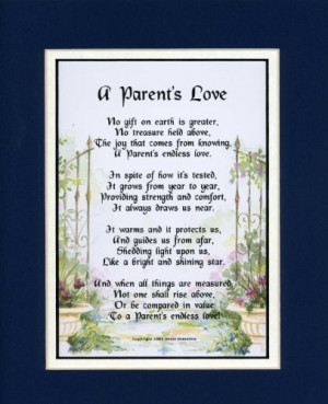 Gift For A Parent. Touching 8x10 Poem, Double-matted in Navy Over ...