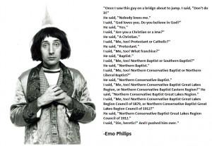 Funny Emo Philips Baptist Religion Joke Image Caption
