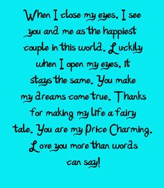 ... tale. You are my Price Charming. Love you more than words can say