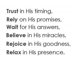 Trust is his timing faith quote