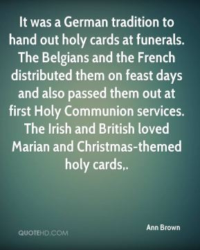 Ann Brown - It was a German tradition to hand out holy cards at ...