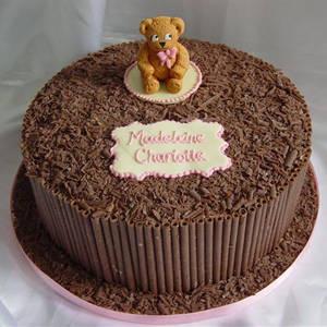 Chocolate birthday cake topper dolls with tiny panda