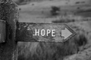 black and white, hope, photography, quote, sign, text