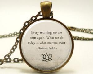 Buddha Quote Necklace, Motivational Wisdom Pendant, Inspirational Yoga ...