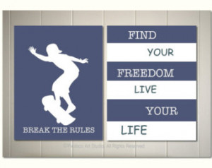 art, boy room art, skateboard poster, motivational skateboard quotes ...