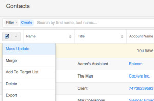 Standard Contact List View Actions