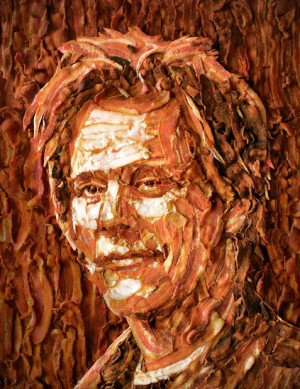 kevin bacon portrait made out of bacon kevin bacon portrait made out ...
