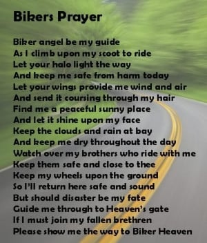 in mind were posting ride prayers and poems for all to enjoy may god ...